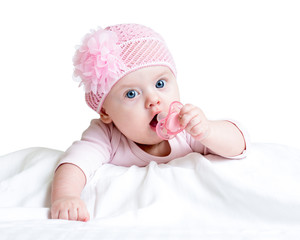 cute baby girl with pacifier