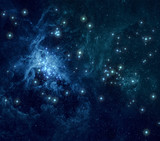Blue nebula stars background