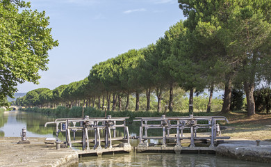 Lock, from Canal du Midi. France.