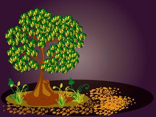 Дерево, растения и камни. 1