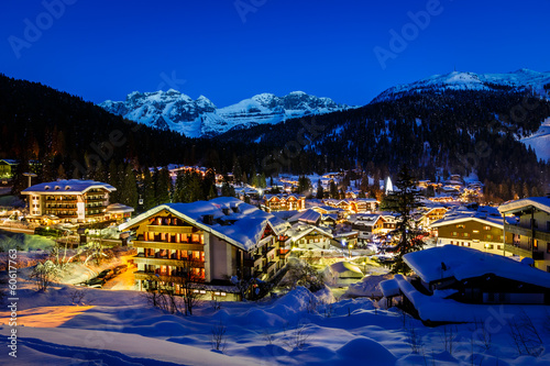 Fotobehang Alpen Illuminated Ski Resort of Madonna di Campiglio in the Morning, I