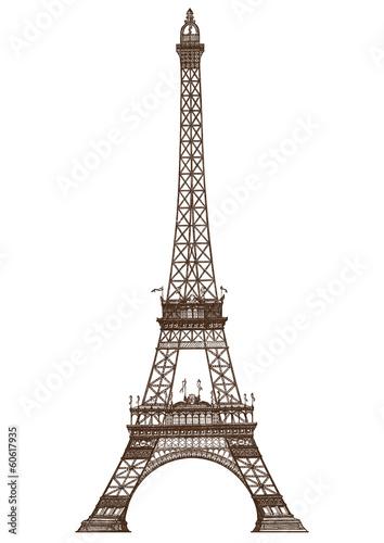 Fototapeta detailed illustration of the Eiffel Tower, Paris