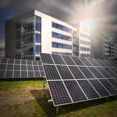 Solar panels against modern passive house.