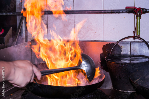 Stir fire cooking