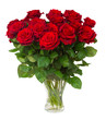 Obrazy na płótnie, fototapety, zdjęcia, fotoobrazy drukowane : bouquet of blossoming dark  red roses in vase