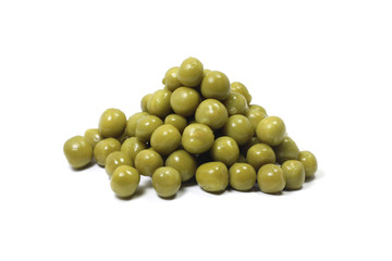a handful of canned peas on a white background