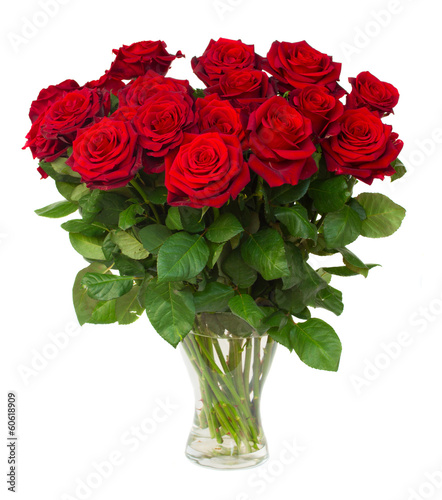 Plexiglas Rozen bouquet of blossoming dark red roses in vase