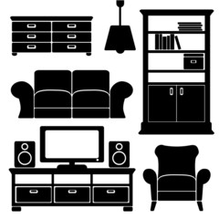 furniture icons set,  black isolated silhouettes
