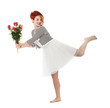 woman runs with red flowers