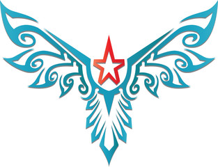 red star decorative with blue wing design for tattoo