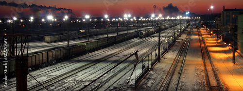 Panorama of railway station at sunrise in winter