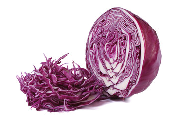 chopped red cabbage close up isolated on white background