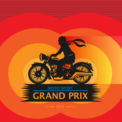 Vintage Motorcycle sport label, vector illustration