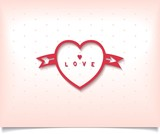 Red heart with arrow on polka dot background. Vector eps10