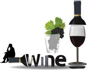 meditazione su una bottiglia di vino