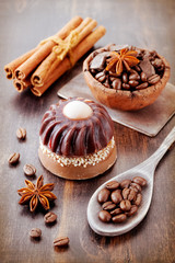 Coffee handmade soap with coffee beans, star anise and cinnamon