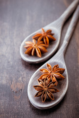 Star anise in old wooden spoons