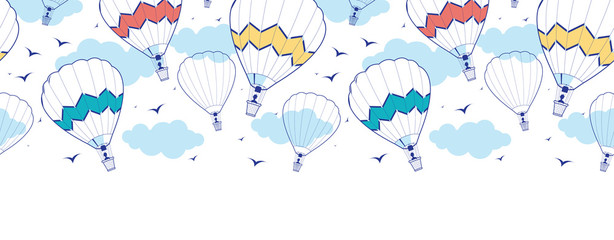Vector colorful hot air balloons horizontal border seamless