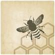 Obrazy na płótnie, fototapety, zdjęcia, fotoobrazy drukowane : bee old background - vector illustration