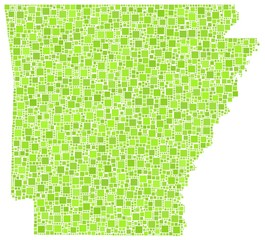 Decorative map of Arkansas - USA - in a mosaic of green squares
