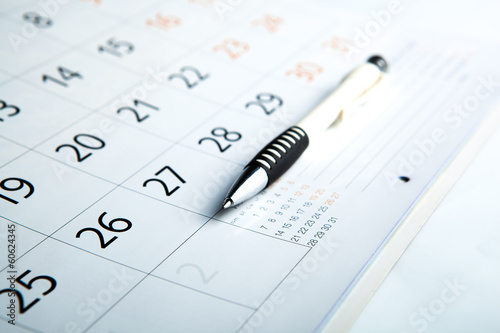 calendar and pen close-up