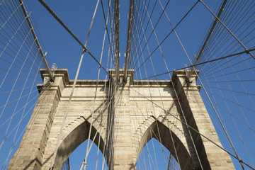 Brooklyn Bridge pillar. Horizontally.