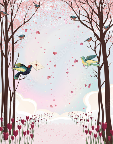 Frame composition with pink forest and birds