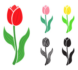 Set tulip flower