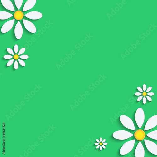 floral background.camomiles from a paper on a green background.v