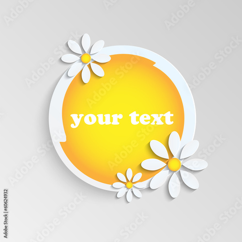 floral background.banner in the shape of a circle decorated with