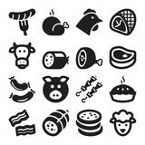 Fototapety Meat flat icons. Black