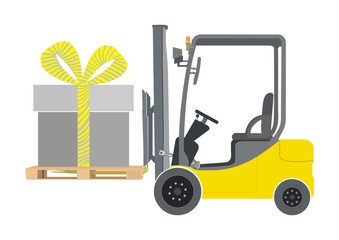 Forklift and giftbox illustration