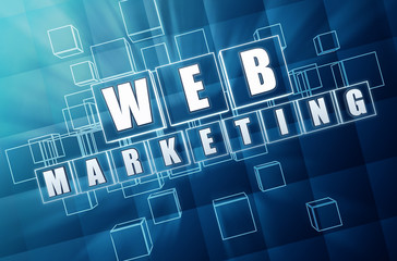 web marketing in blue glass blocks