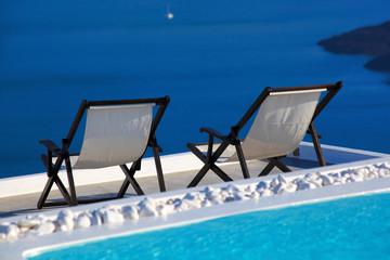 Luxury resort in Santorini island with seaview in Greece