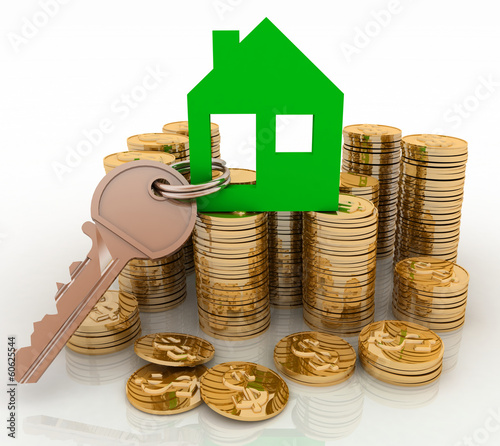 3d house symbol with key on Pile of gold coins