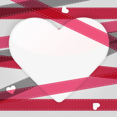Card template with paper heart and pink ribbons