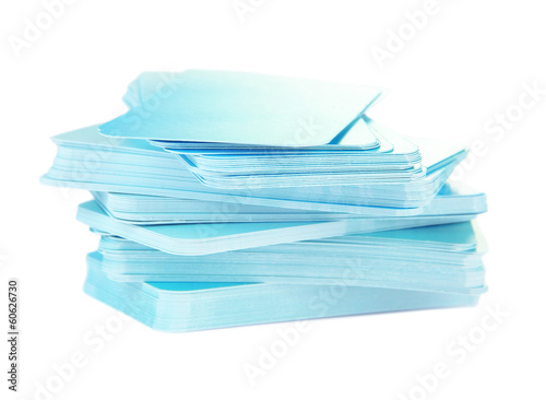 Stack of business cards, isolated on white