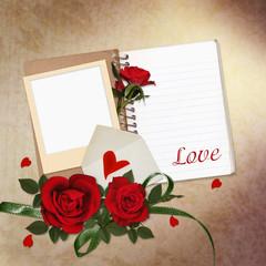 Red roses, notepad, frame on vintage background