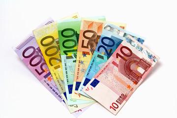 Geldfächer mit 500, 200, 100, 50, 20 & 10 Euroscheine