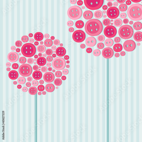 Colorful greeting card with trees made of  pink buttons