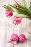 Tulips and Easter eggs on the table