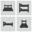 Vector black bed icons set - 60627981