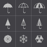 Fototapety Vector black umbrella icons set