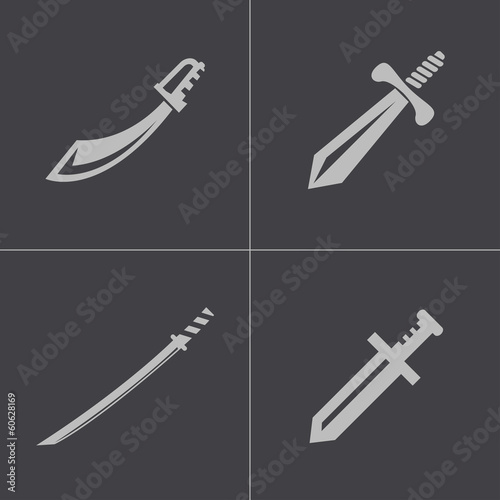 Vector black sword icons set