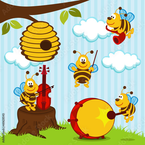 orchestra musical bees - vector illustration