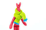 Toy Red Rabbit in a wooly scarf on white background