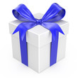 White gift with a blue ribbon and a bow