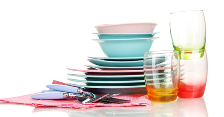 Clean dishes isolated on white