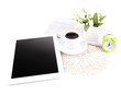 Tablet, newspaper, cup of coffee and alarm clock, isolated