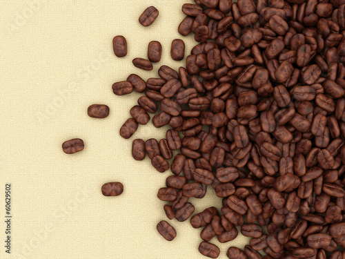 Heap of Coffee Beans on burlap background